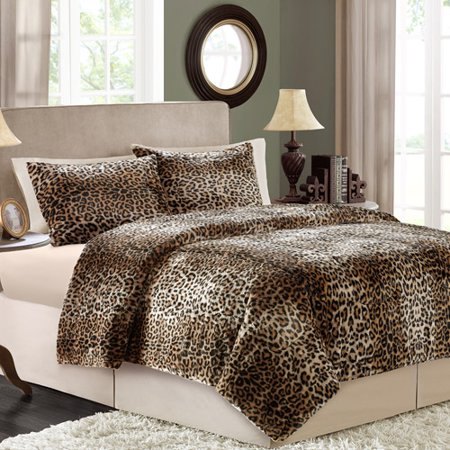 Better Homes and Gardens Faux Fur Bedding Comforter Set, Cheetah ...