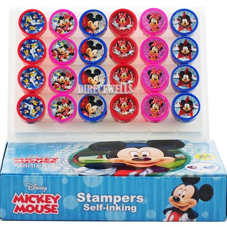 Mickey and Minnie Mouse 24 Authentic Licensed Self Inking Stampers in Box