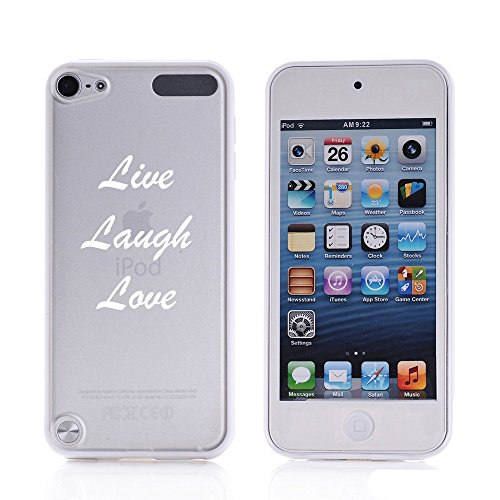 For Apple iPod Touch 5 5th Transparent Clear Hard TPU Case Cover Live Laugh Love (White)