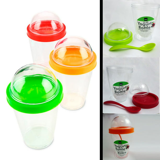 2 Yogurt Cereal Cup Spoon Lid Parfait Travel Food Storage Snack Container 12 oz