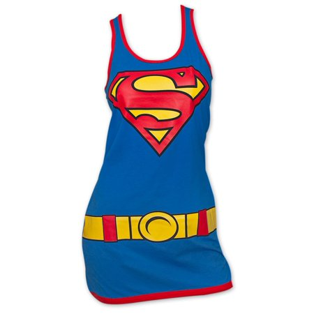 Superman Costume Womens Tank Top Dress - Blue - Man Of Steel Dress