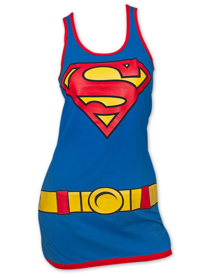 Superman Costume Womens Tank Top Dress - Blue