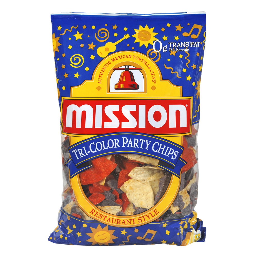 Mission Restaurant Style Tri-Color Party Chips, 18.0 OZ