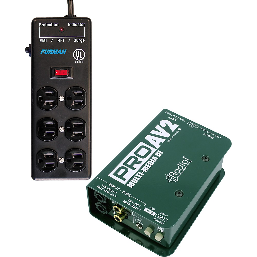 Radial Engineering Radial-Furman PROAV2 DI Box SS-6B Surge Block Bundle