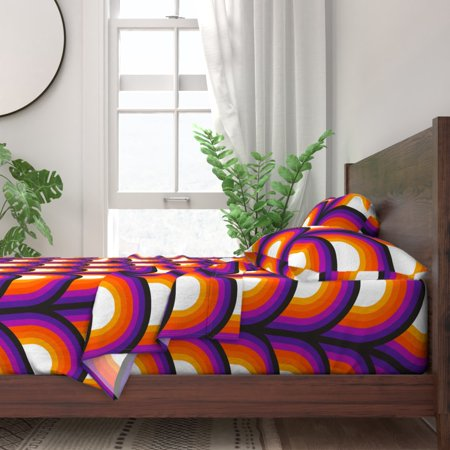 Retro Orange Red Purple Black Decor Mod 100% Cotton Sateen Sheet Set by