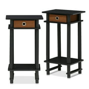 Furinno Turn-N-Tube Tall End Table with Bin, Espresso/Brown, Set of 2