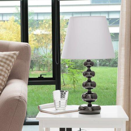 K&B Furniture L227 Gun Black and White Table Lamp - Set of 2 ()