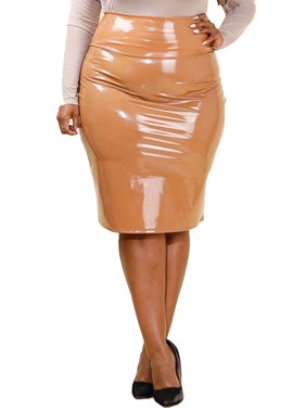 b11e1a13e7 Product Image Womens Plus Size Shiny Latex Midi Fashion PU Skirt GNS4213  -XL-Nude. Genx