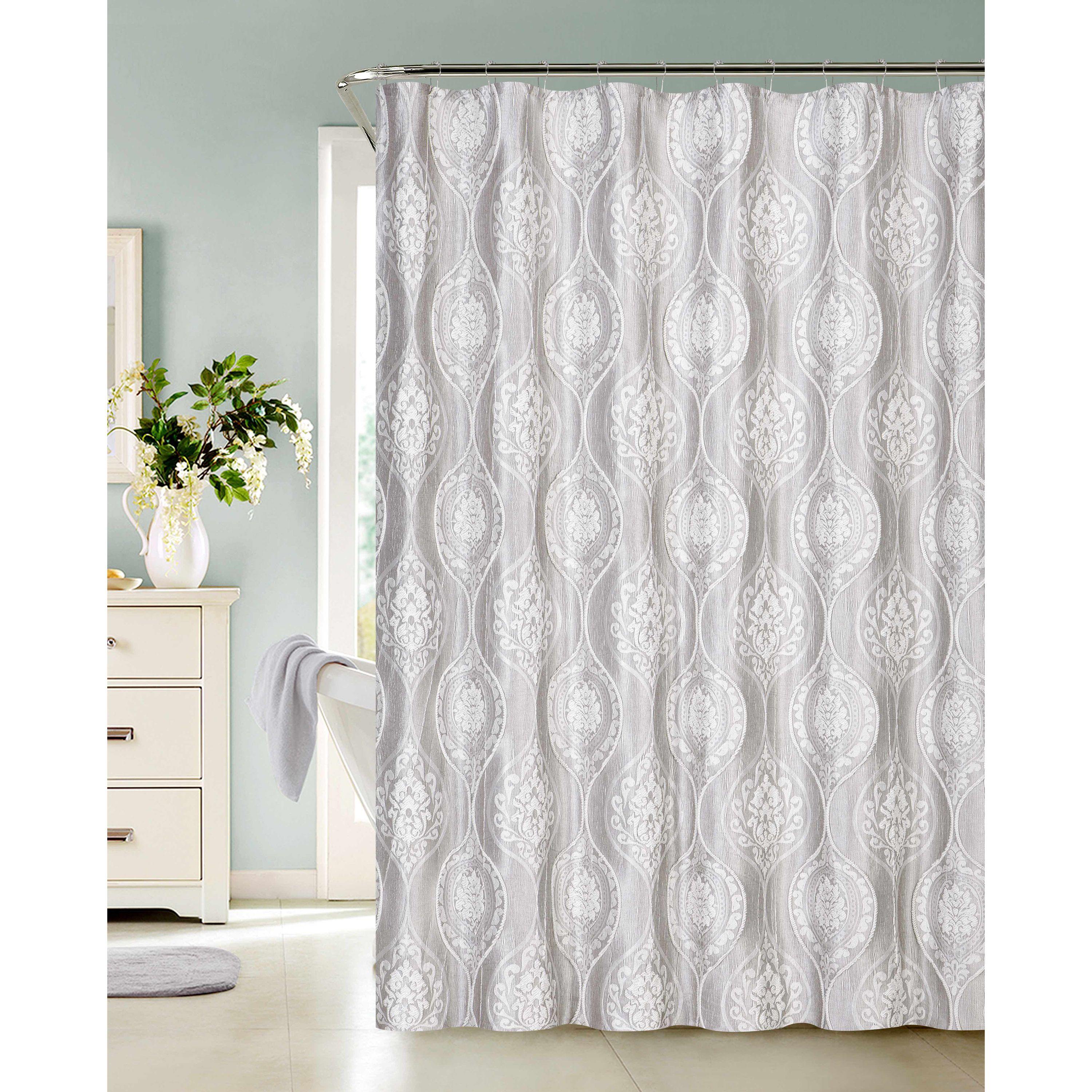 Dainty Home Monaco Shower Curtain, Silver