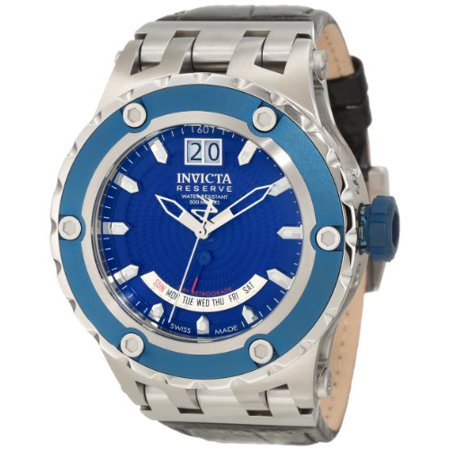 Subaqua Reserve Quartz Royal Blue Textured Dial Black Leather Mens Watch (Mens Textured Dial)
