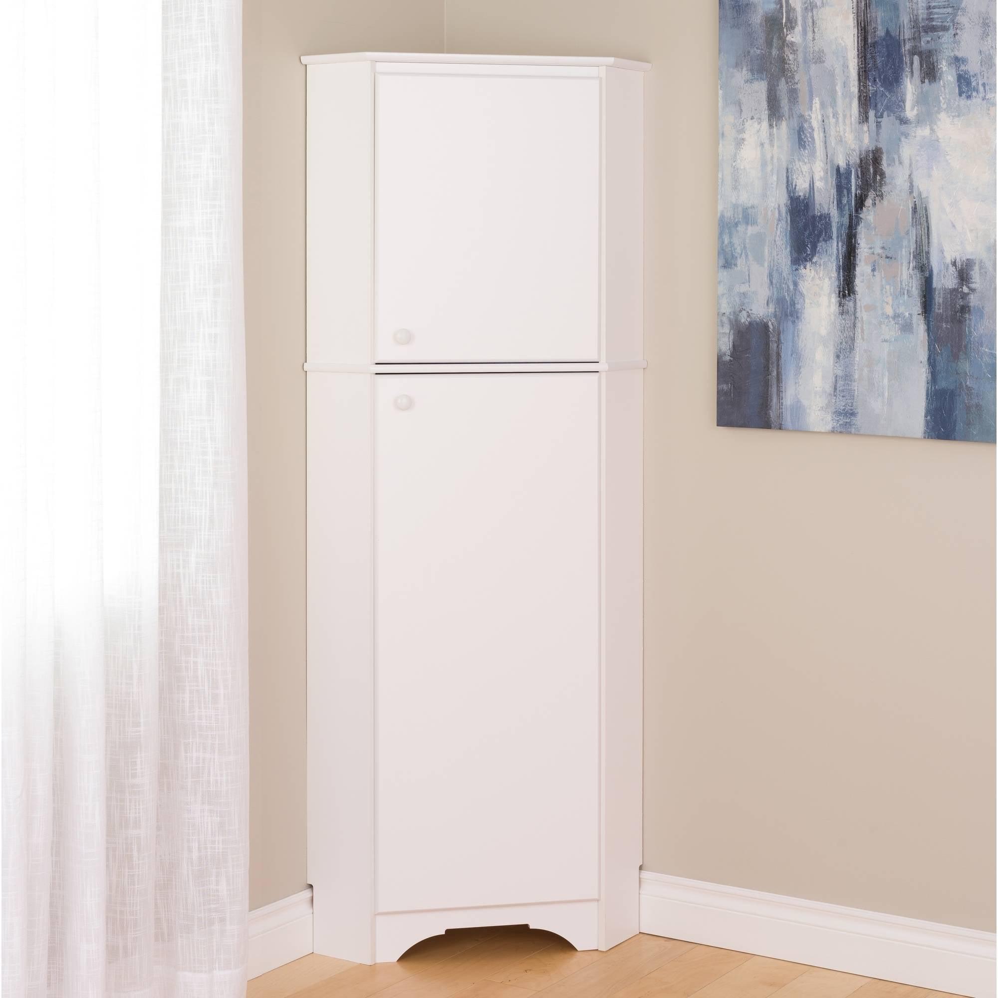 Elite Tall 2 Door Corner Storage Cabinet White Walmart Com