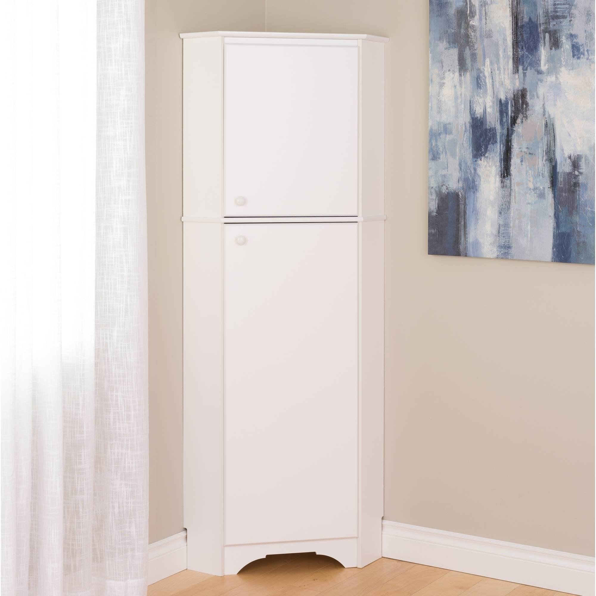 Captivating Elite Tall 2 Door Corner Storage Cabinet, White