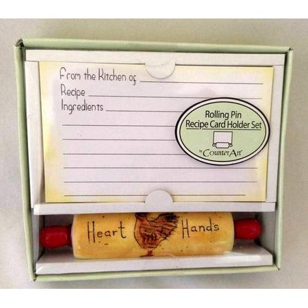 "Retired Counter Art ""Heart Hands"" Rolling Pin Recipe Card Holder Set"