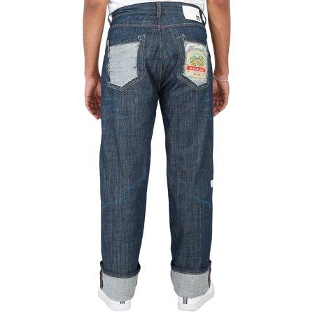 Blanco Label Men's Relax Fit Denim Jeans Medium Washed & Reversed Back Pocket