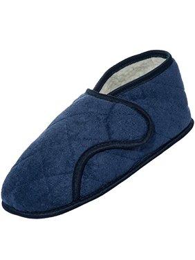 Men's Navy Edema Slippers for Swollen Feet-opens Fully (2XL 14-15)