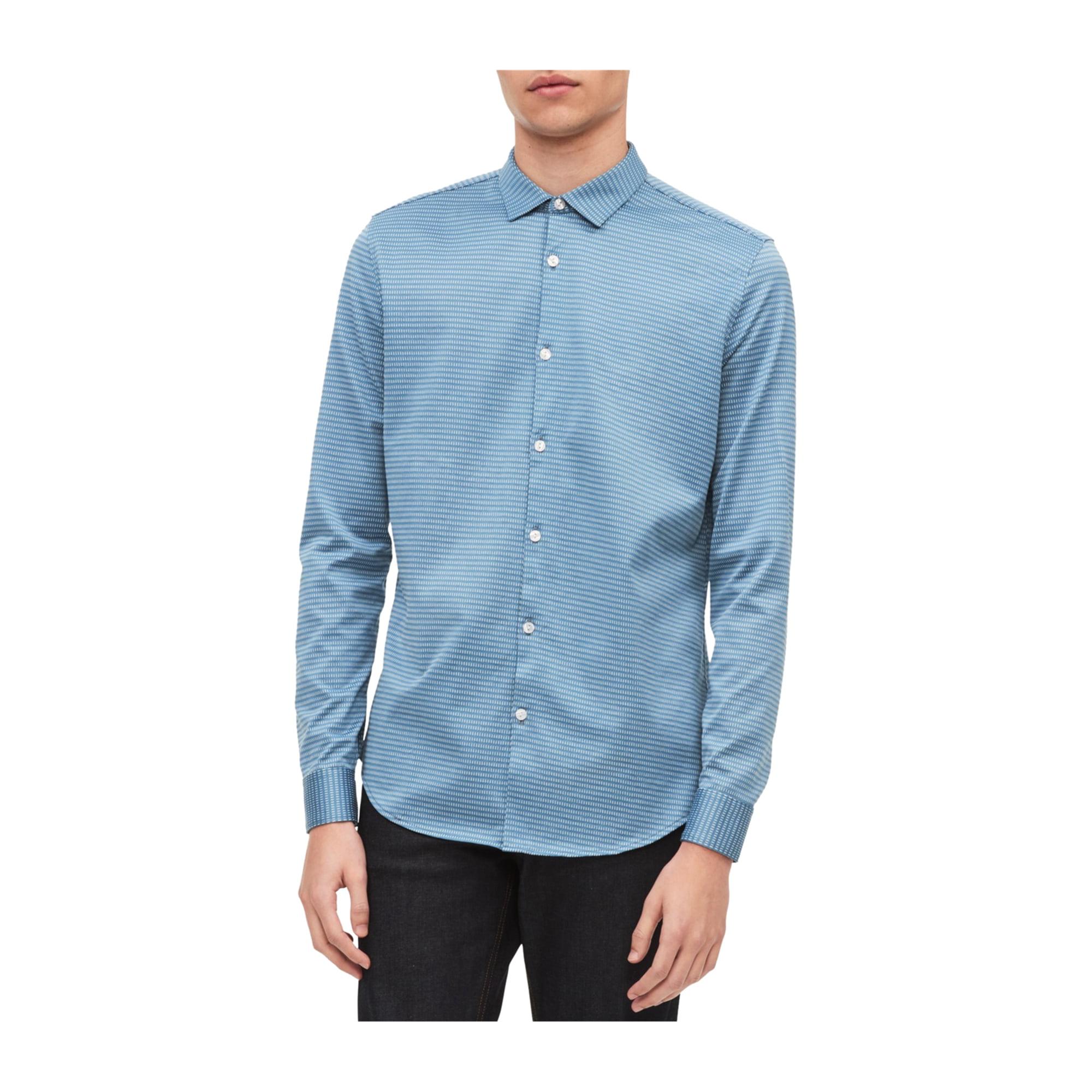 7947eb6f2d Calvin Klein Mens Dashing Through The Stripes Button Up Shirt princialblue  L   Walmart Canada ?