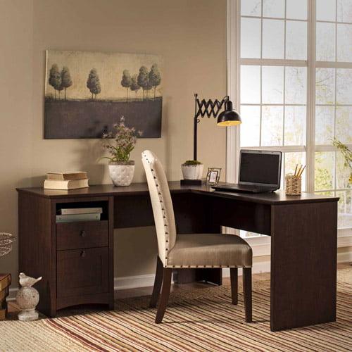 Bush Furniture Buena Vista L-Shaped Desk, Madison Cherry