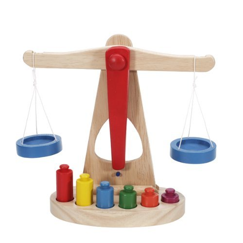 Preschool Educational Toy Wooden Balance Scale Toy with 6 Weights for Kids by