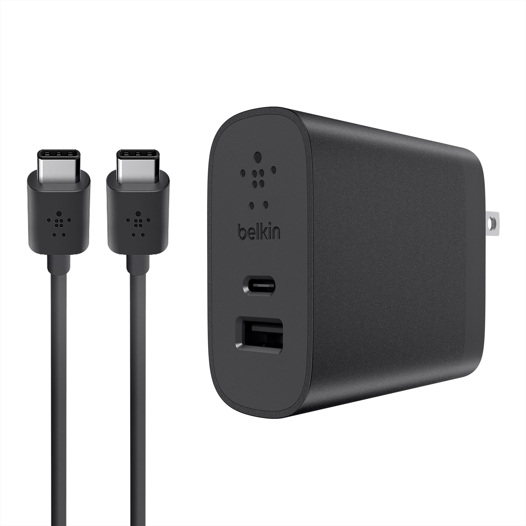 Belkin USB-C 2 Port 27w Wall Charger w/ 6ft USB-C to USB-A Cable, Black