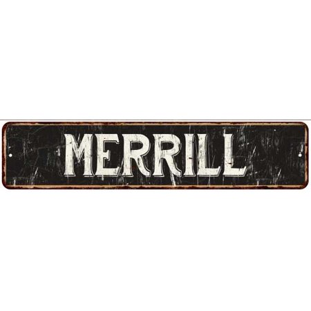 Merrill Street Sign Rustic Chic Sign Home Man Cave Decor Gift Black M41803969