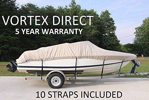 VORTEX HEAVY DUTY 24 FT *TAN BEIGE* VHULL FISH SKI RUNABOUT COVER FOR 22' to 23' to 24' FT foot BOAT (FAST SHIPPING 1 TO... by Vortex