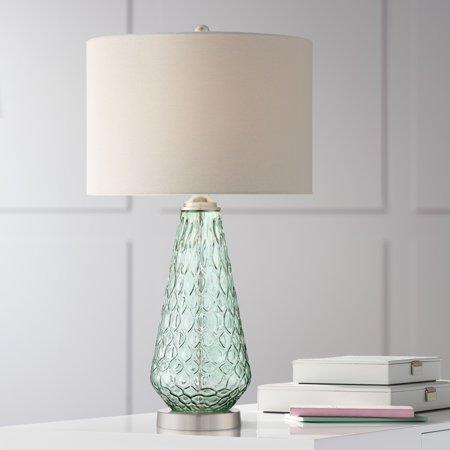 360 Lighting Modern Table Lamp Green Glass White Drum Shade for Living Room Bedroom Bedside Nightstand Office Family (Green Glass Lamp)