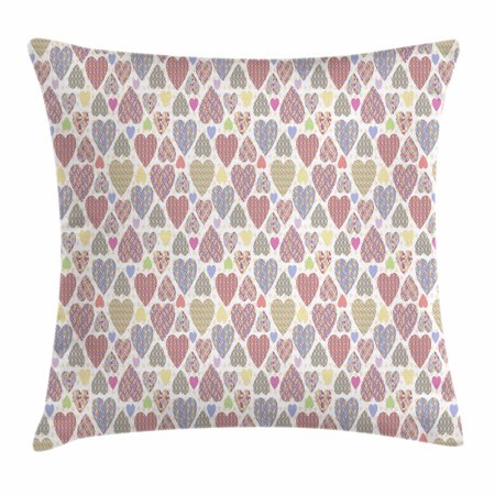 Love Throw Pillow Cushion Cover, Colorful Hearts with Ornamental Mosaic Patterns Love and Affection Best Wishes Theme, Decorative Square Accent Pillow Case, 16 X 16 Inches, Multicolor, by (With Love And Best Wishes)