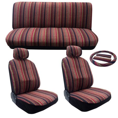 Seat Summer Cover (Summer Stripes Saddle Blanket Seat Cover Set - 11pc Front Rear Headrests Steering Wheel Cover & Seat Belt Pads Classic Vintage Stripes For Saturn SL1 SL2 LS1 LS2 L100 L300 )