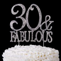 30 & Fabulous Cake Topper 30th Birthday Party Supplies Gold Decoration Toppers (Gold)