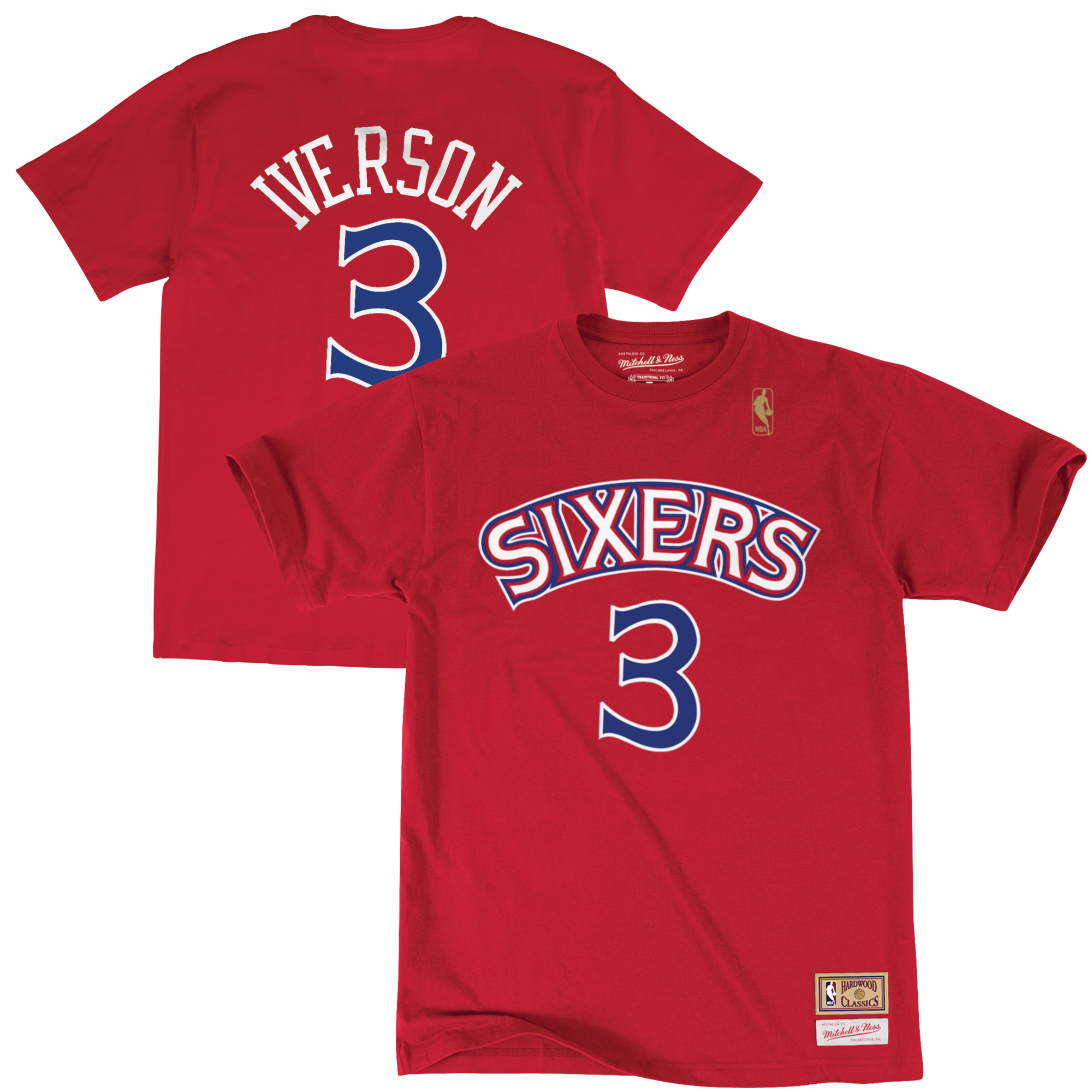 Allen Iverson Philadelphia 76ers Mitchell & Ness Name & Number T-Shirt - Red
