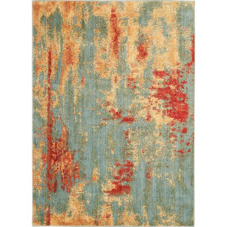 Bungalow Rose Lowndes Abstract Tealyellow Area Rug Walmartcom