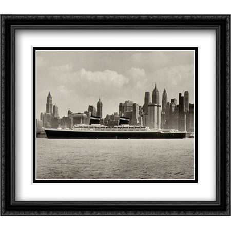 Ss Black Wood - SS United States 1953 2x Matted 32x28 Large Black Ornate Framed Art Print
