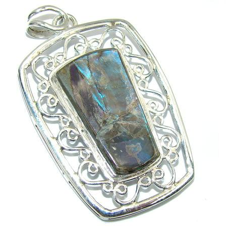 Genuine Multicolor Ammolite Sterling Silver Pendant