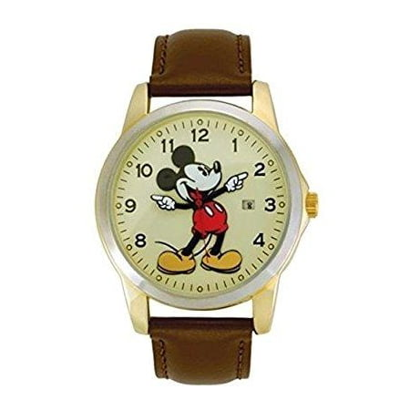 mck326 mickey mouse unisex gold tone & leather classic moving hands watch Disney Classic Watch