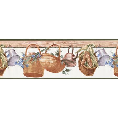 Hanging Baskets Corn Flowers Kitchen Wide Wallpaper Border Retro Design, Roll 15' x 9'' - image 2 of 3