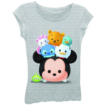 Girls' Stacked Heads Short Puff Sleeve Graphic Tee T-Shirt
