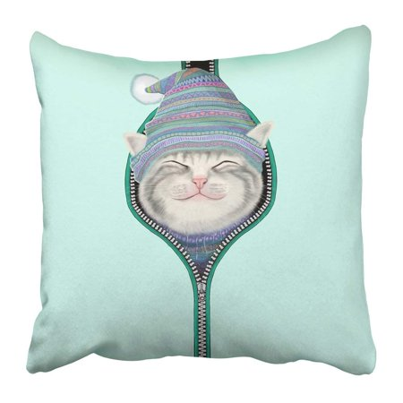 BOSDECO Pink Christmas the Naughty Cat Try to Play with You See Animal Appear Colors Creature Cute Detail Pillowcase 20x20 inch - image 1 of 1