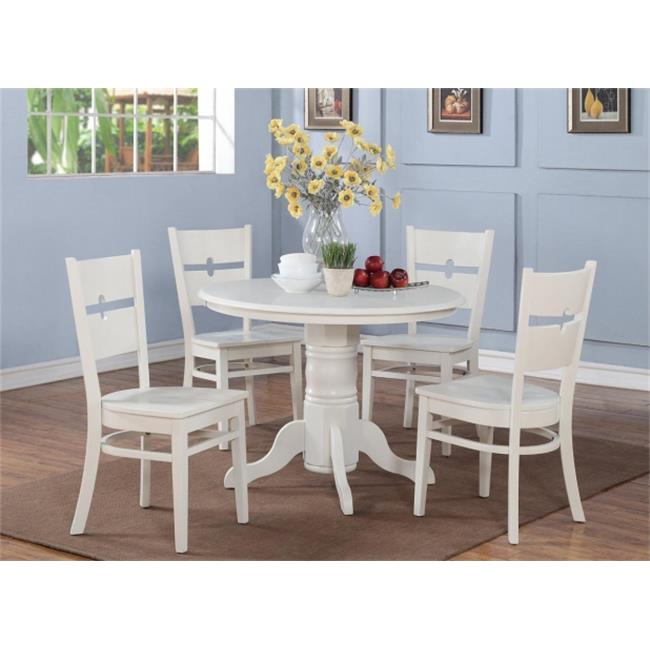 Wooden Imports Furniture SH-TB-WHI Shelton Round Kitchen Table 42'' Diameter With Pedestal In Linen White Finish