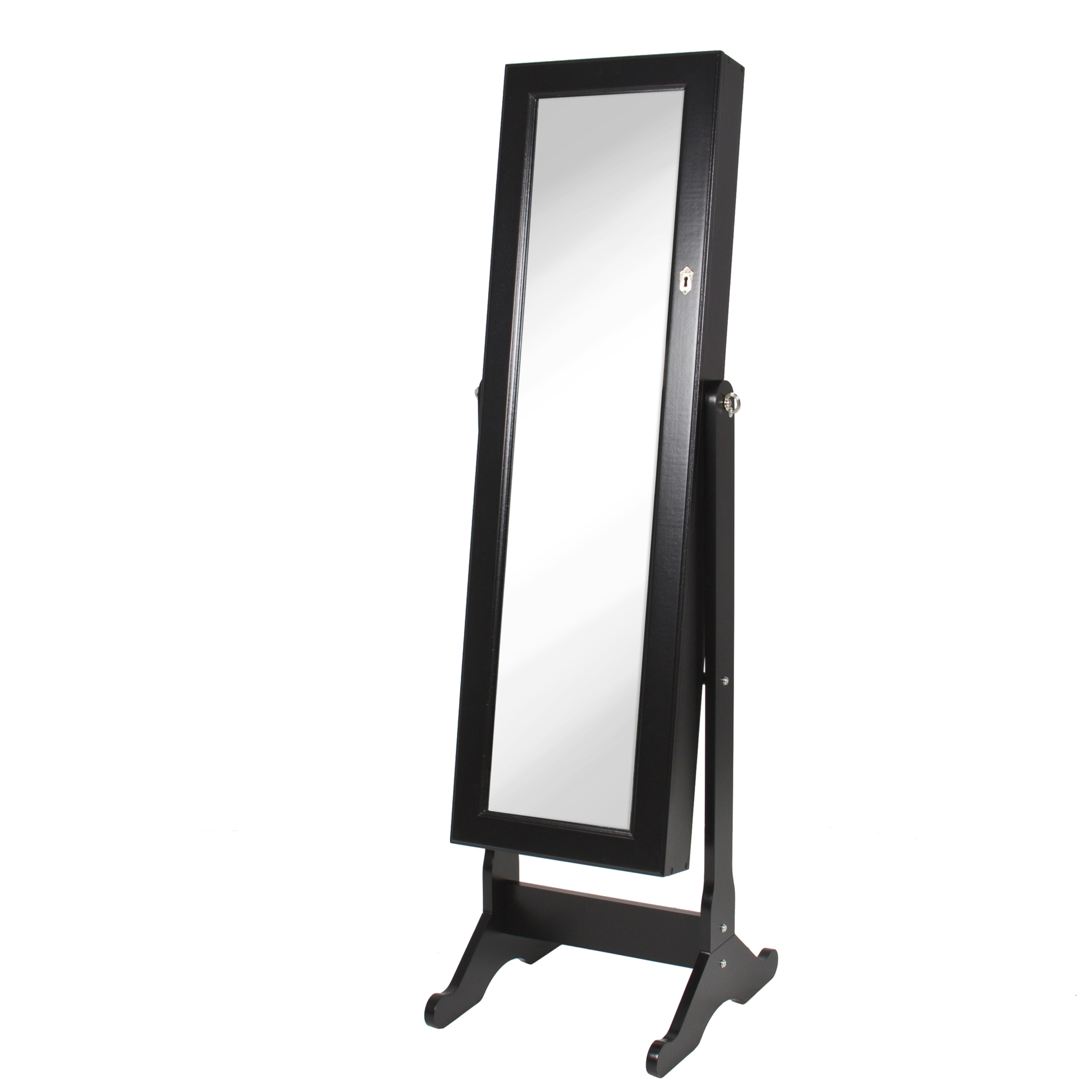 Black Mirrored Jewelry Cabinet Armoire W/ Stand Mirror Rings ...
