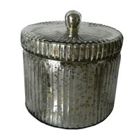 "Lidded Scented Soy Wax Candle - 5""Dia. - Earl Grey - Silver"