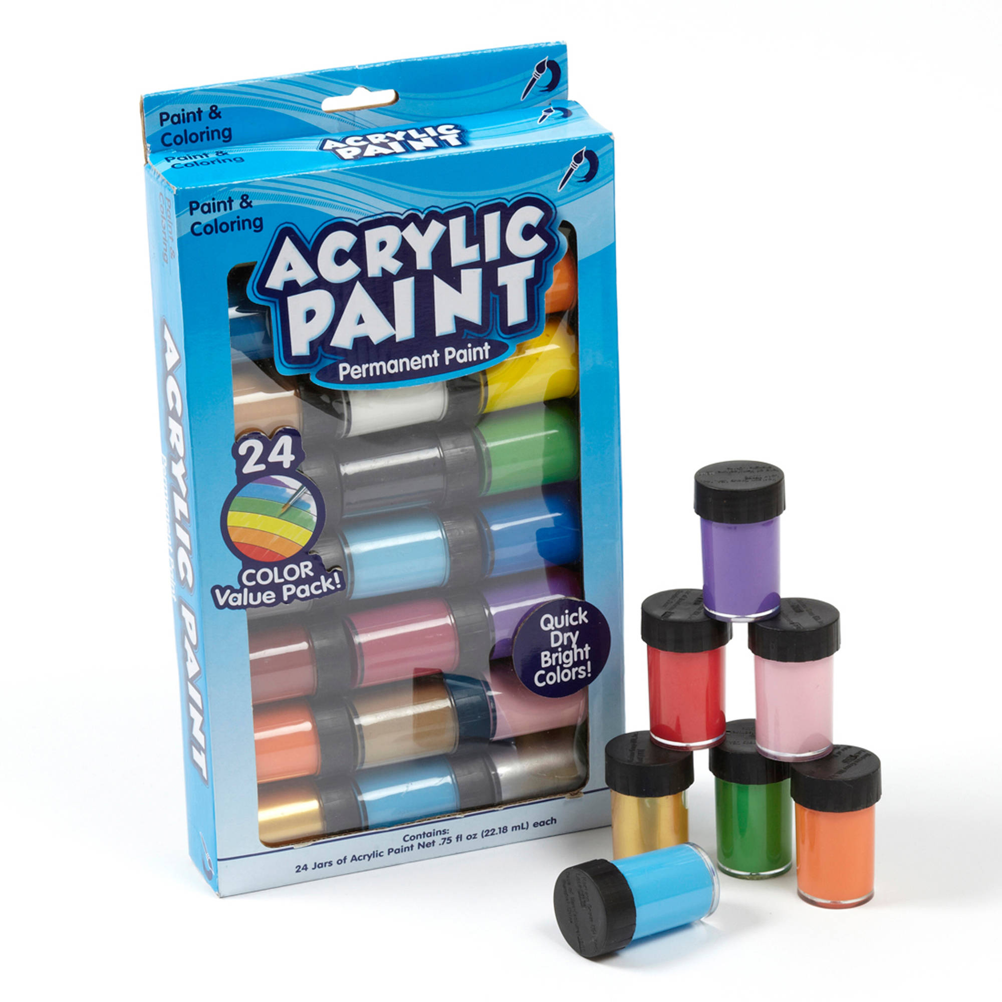 Permanent Acrylic Paint, 24 Pack by Horizon Group USA