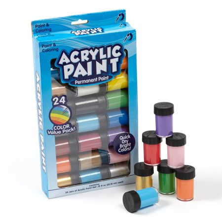 Permanent acrylic paint 24 pack by horizon group usa for Walmart arts and crafts paint