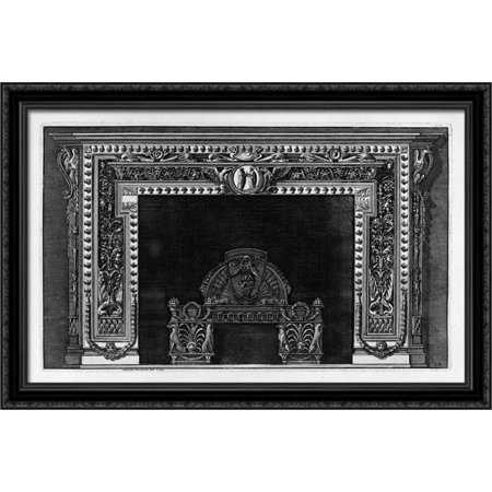 Fireplace with a cameo in the frieze and border of small acorns, rich wing 40x26 Large Black Ornate Wood Framed Canvas Art by Giovanni Battista Piranesi - Large Cameo Glass Art