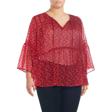 Plus Swiss Dot Bell-Sleeve Top (Dkny Graphic Dots)