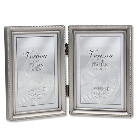 Antique Pewter Hinged Double 3.5x5 Picture Frame - Beaded Edge Design