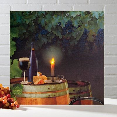 WINE & CHEESE Vineyard Lighted Canvas, LED Light, 8