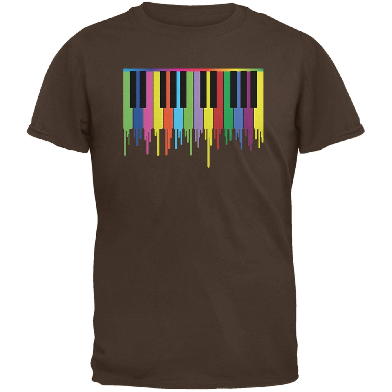 Piano Keys Brown Adult T-Shirt