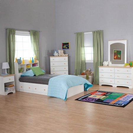 Twin Maple Headboard - South Shore Summertime Twin Bookcase Headboard, 39'', White and Maple