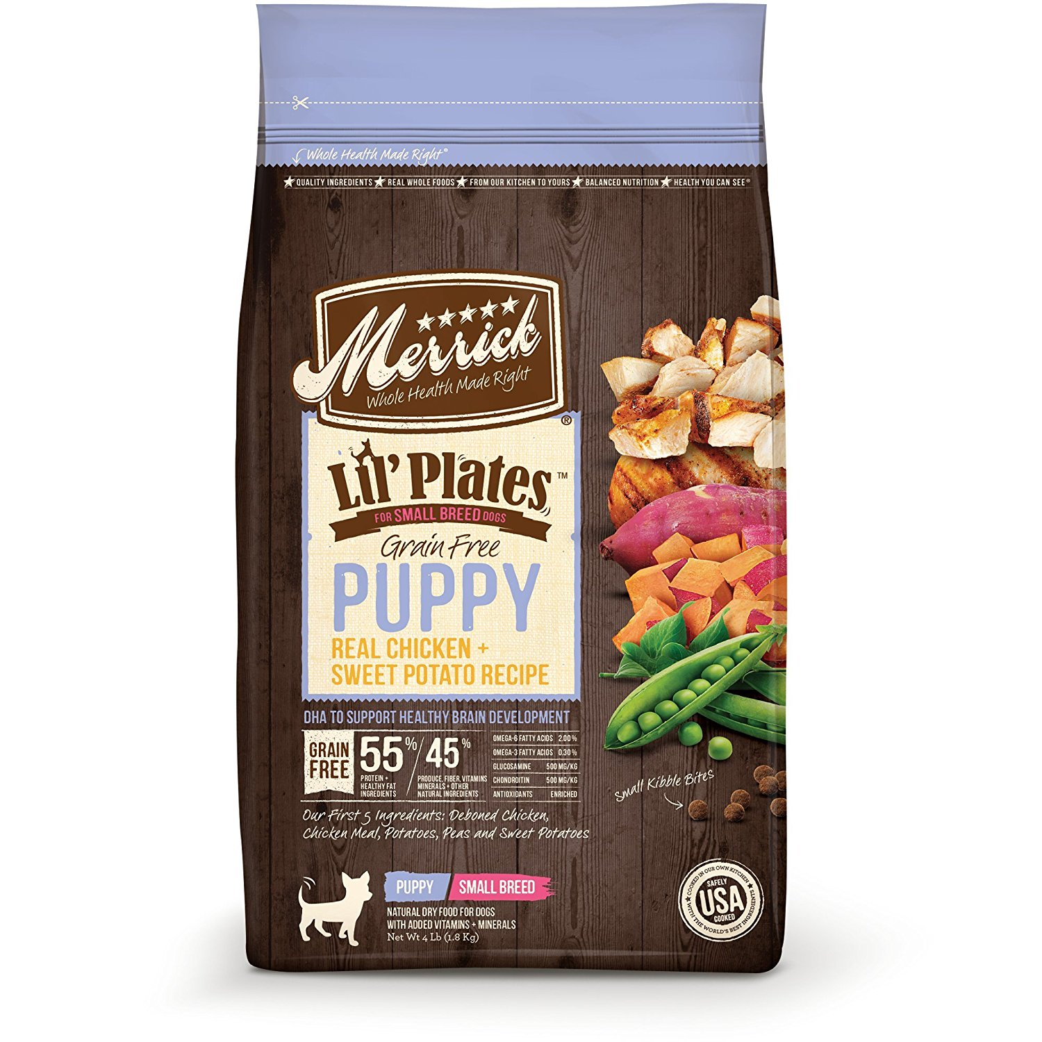 Merrick Lil' Plates Grain Free Real Chicken + Sweet Potato Small Breed Dry Puppy Food, 4 lbs. by Merrick Pet Care