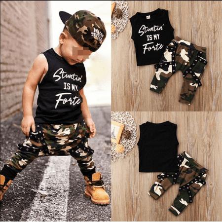 Hirigin Toddler Kids Baby Boys Summer Tops T-shirt Camo Pants 2Pcs Outfits Set -